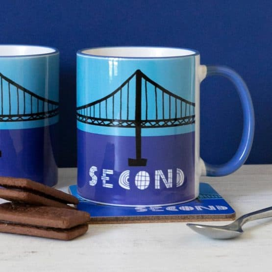 Set of 4 mugs celebrating Scottish engineering and the Forth Rail Bridge, Forth Road Bridge and Queensferry Crossing by Gillian Kyle
