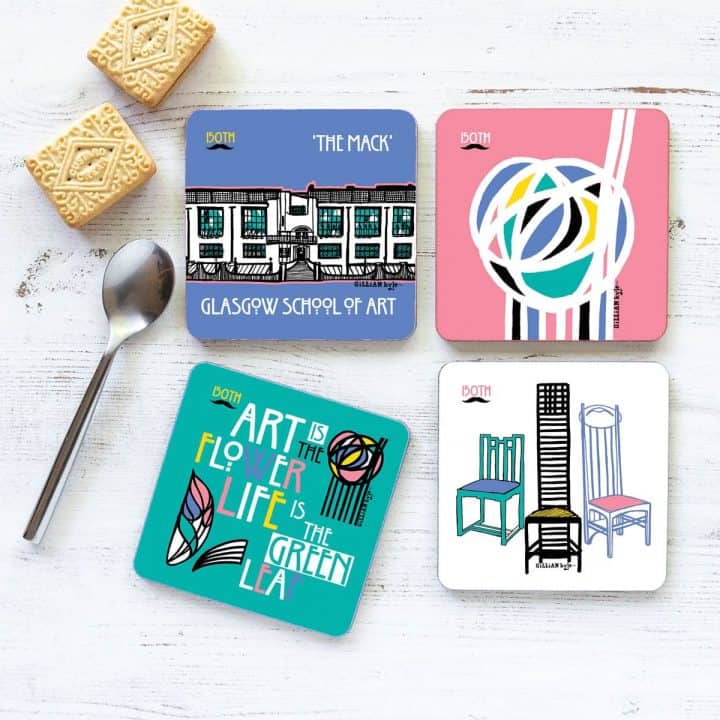 Charles Rennie Mackintosh Glasgow School of Art, famous quote, font, rose and chairs design coaster set celebrating the Scottish artist, designer and architect on his 150th birthday by Gillian Kyle