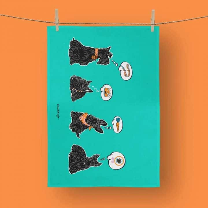 Great Scottie Scottish Terrier tea towels celebrating Scotty Dogs by Gillian Kyle