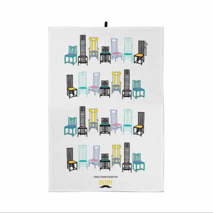 Charles Rennie Mackintosh chair design tea towel celebrating the Scottish artist, designer and architect on his 150th birthday by Gillian Kyle