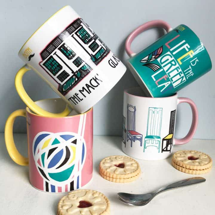 Charles Rennie Mackintosh Glasgow School of Art, famous quote, font, rose and chairs design mug set celebrating the Scottish artist, designer and architect on his 150th birthday by Gillian Kyle