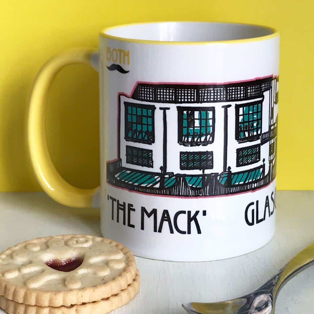 Charles Rennie Mackintosh Glasgow School of Art and font design mug celebrating the Scottish artist, designer and architect on his 150th birthday by Gillian Kyle