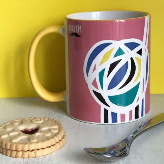 Charles Rennie Mackintosh rose design mug celebrating the Scottish artist, designer and architect on his 150th birthday by Gillian Kyle