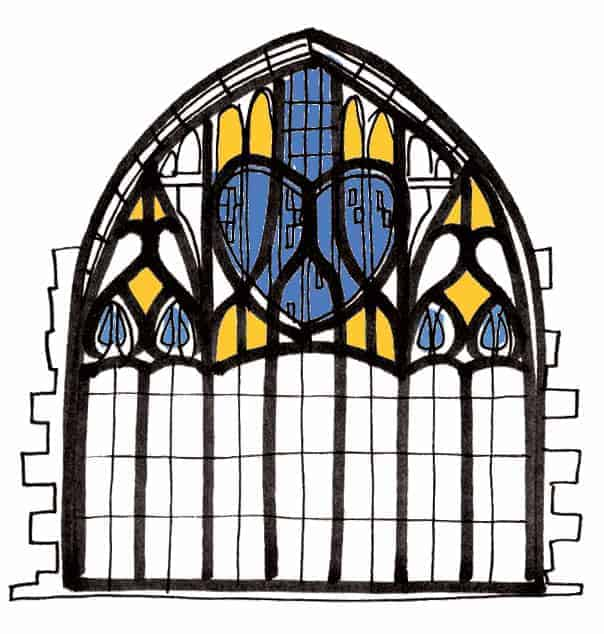 Charles Rennie Mackintosh Queens Cross Church Glasgow stained glass window by Gillian Kyle