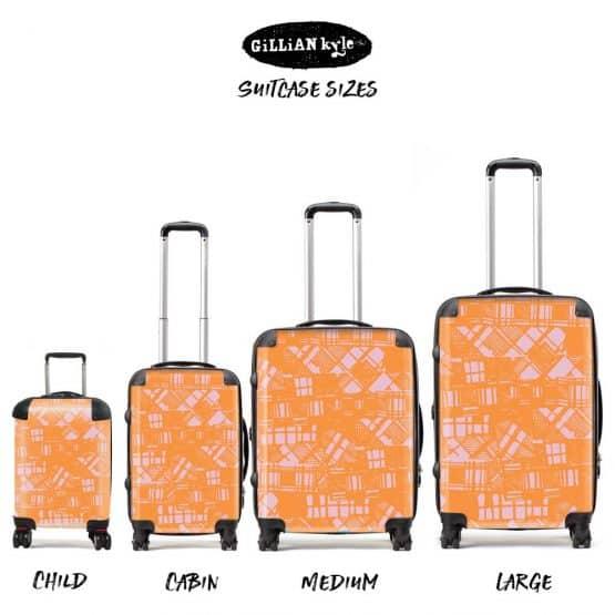 Scottish artist Gillian Kyle's modern take on Scottish tartan and plaid - designer, lightweight suitcases and luggage sets