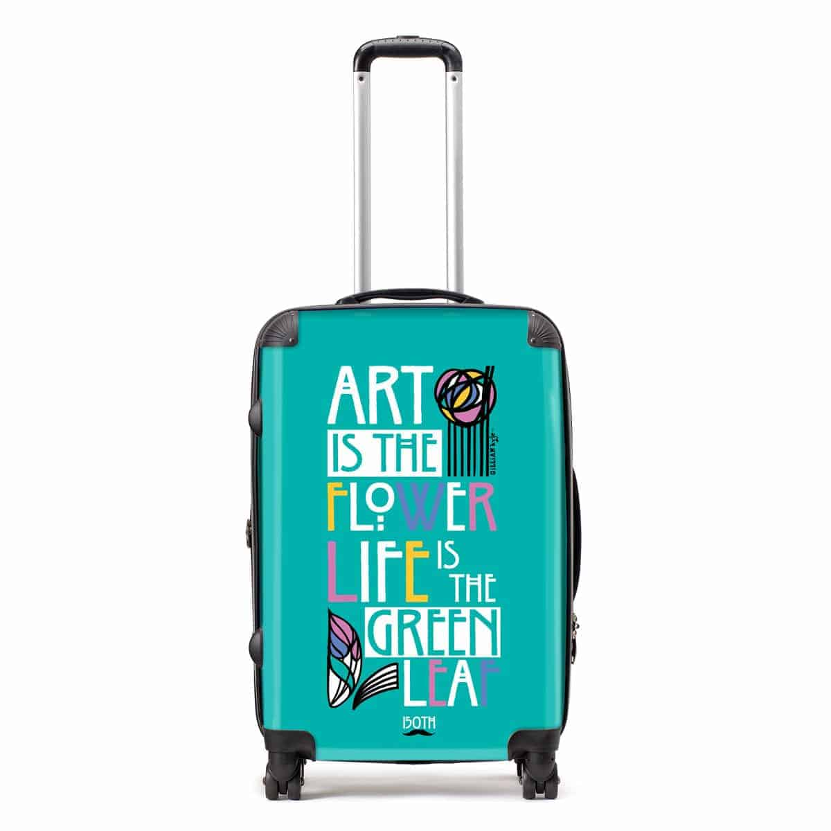 Charles Rennie Mackintosh rose and famous quote font design suitcase celebrating the Scottish artist, designer and architect on his 150th birthday by Gillian Kyle