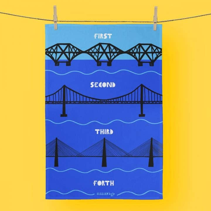 Scottish tea towel celebrating Scottish engineering and the Forth Rail Bridge, Forth Road Bridge and Queensferry Crossing by Gillian Kyle