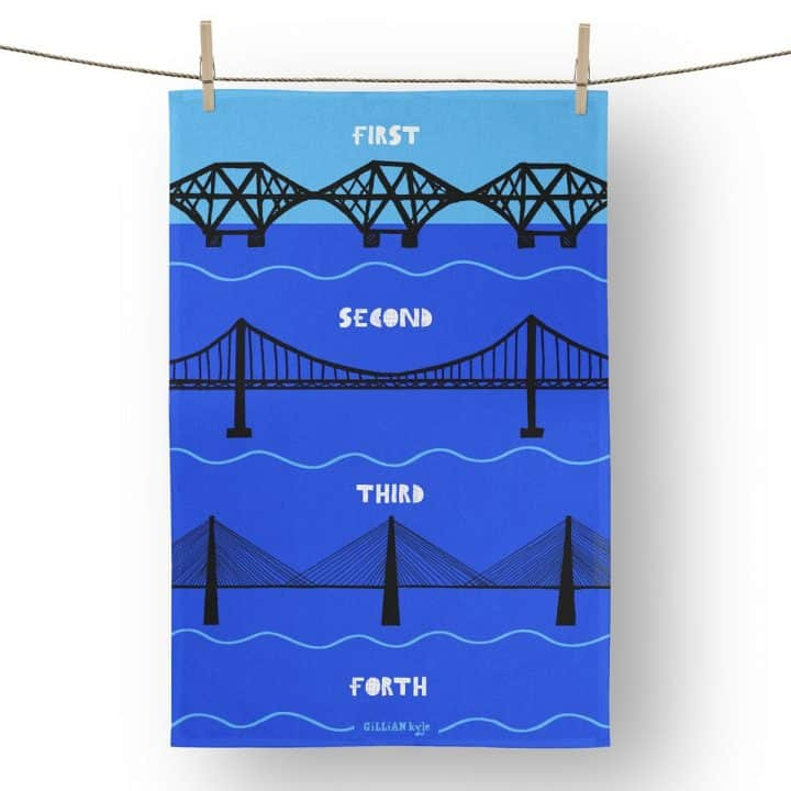 River Forth Bridges tea towel from Gillian Kyle