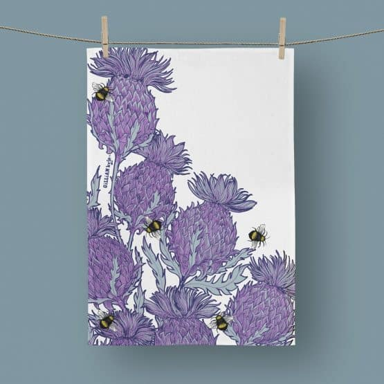 Scottish Thistle Tea Towel by Scottish artist Gillian Kyle