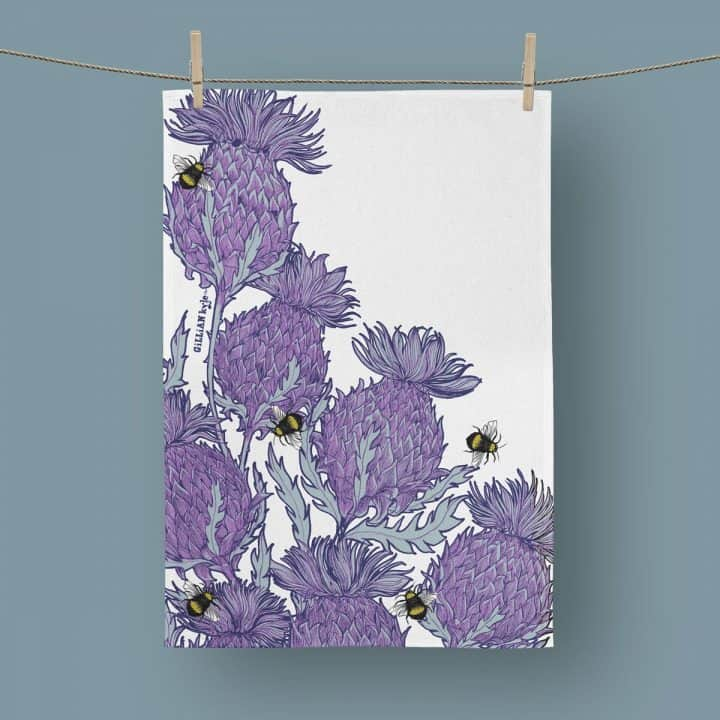 Scottish Thistle Tea Towel by Scottish artist Gillian Kyle