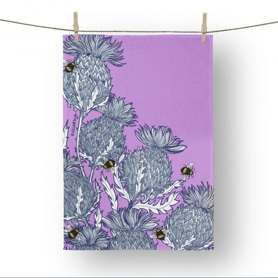 Flower of Scotland, Scottish Thistle tea towels by Scottish artist Gillian Kyle
