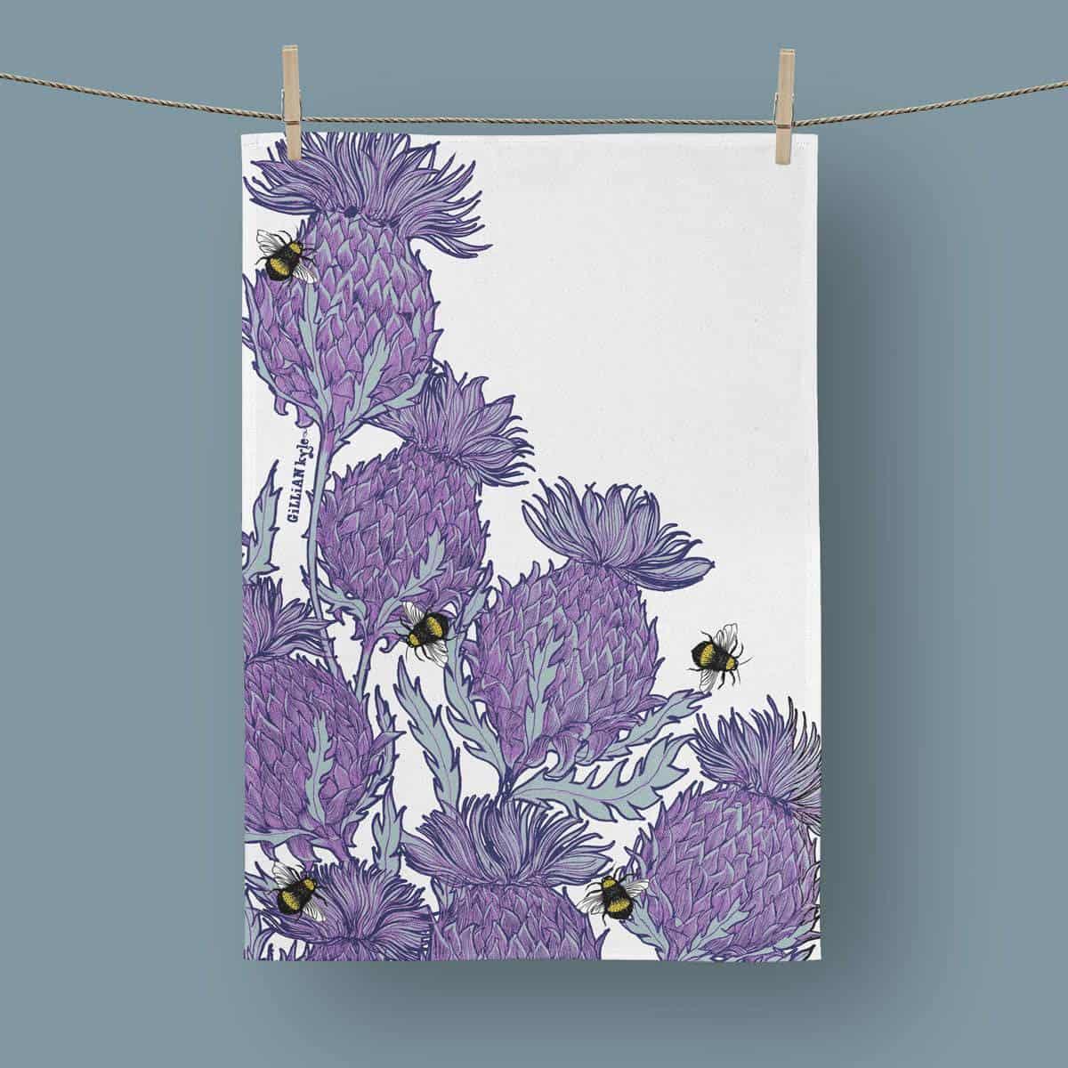 Flower Of Scotland Scottish Thistle Tea Towel By Scottish Artist