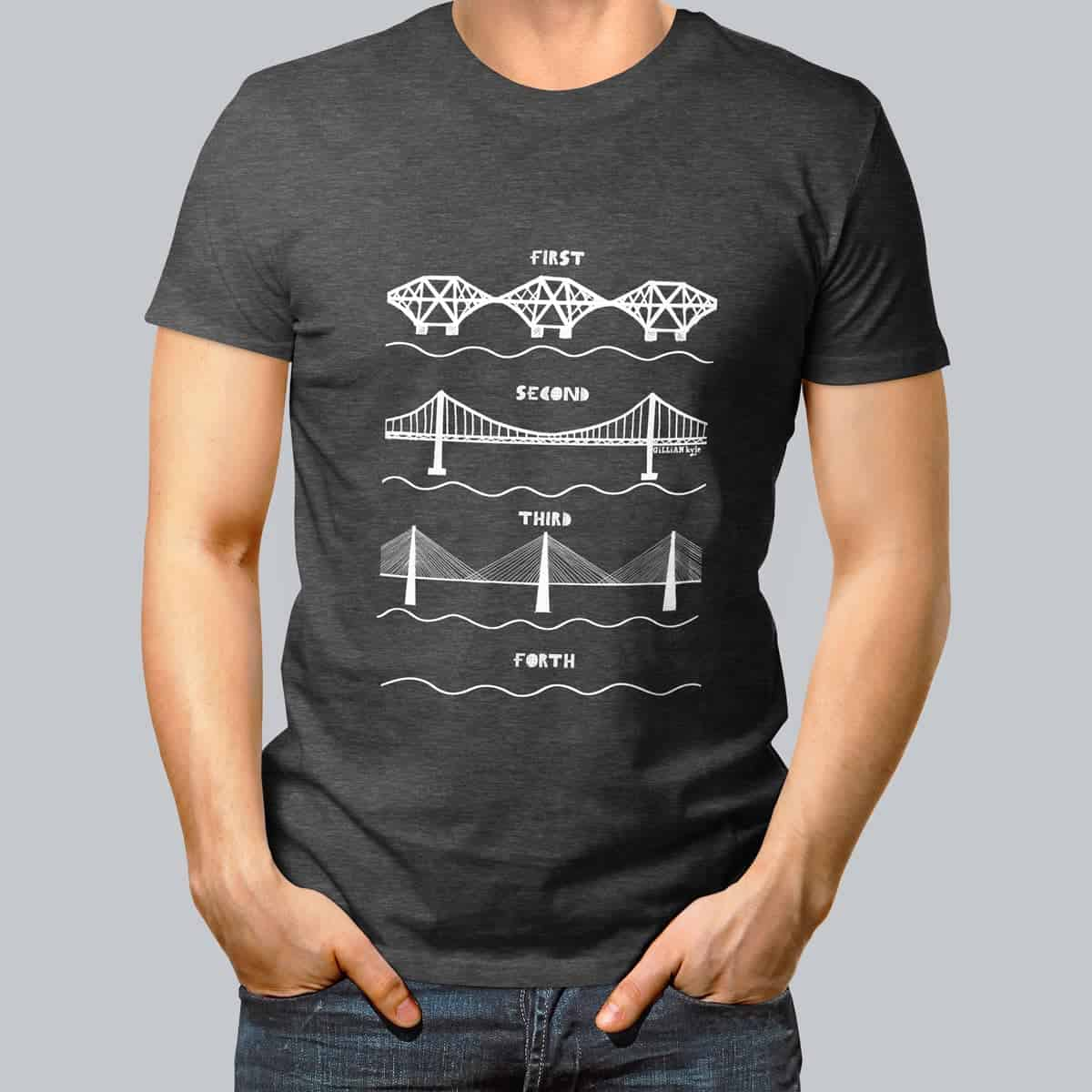 Scottish mens t shirt celebrating the forth bridges by for T shirt design store near me