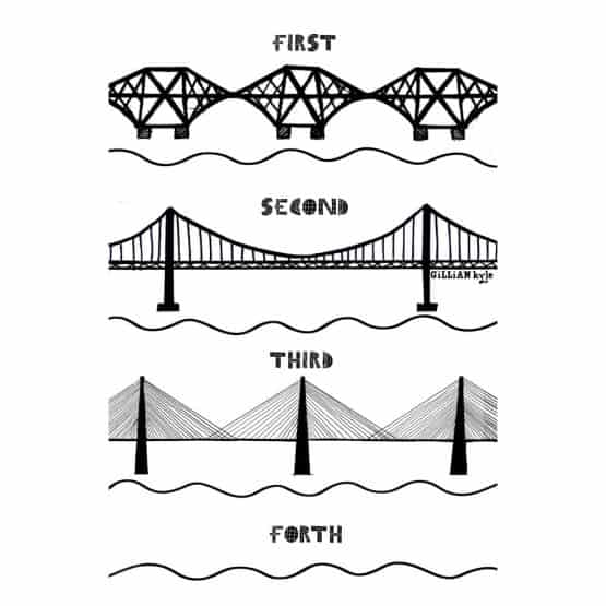 Scottish mens t-shirt celebrating Scottish engineering and the Forth Rail Bridge, Forth Road Bridge and Queensferry Crossing by Gillian Kyle