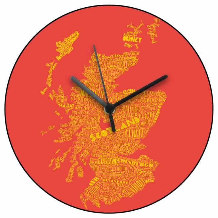 Scottish Map Wall Clock in red and yellow Scottish Lion Rampant colours by Scottish designer Gillian Kyle