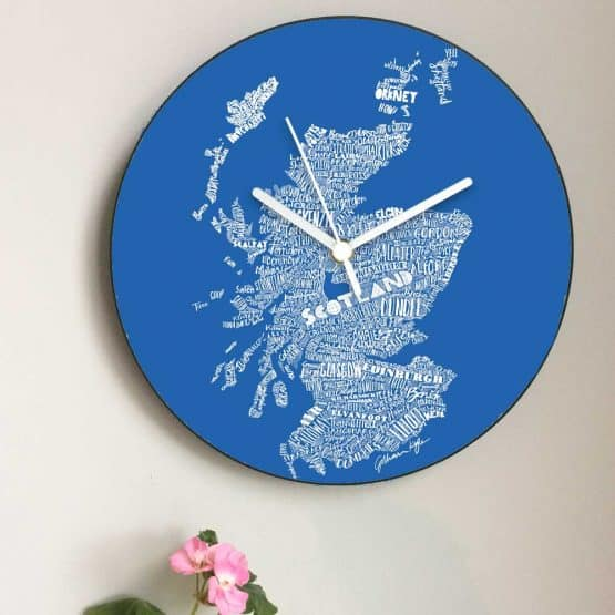 Scottish Map Wall Clock in saltire Scottish flag colours by Scottish designer Gillian Kyle