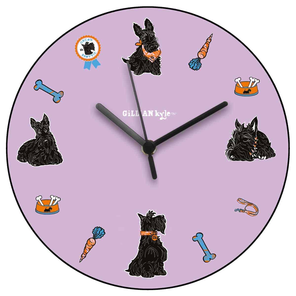 Great Scottie Scottish Terrier wall clock or kitchen clock celebrating Scotty Dogs by Gillian Kyle