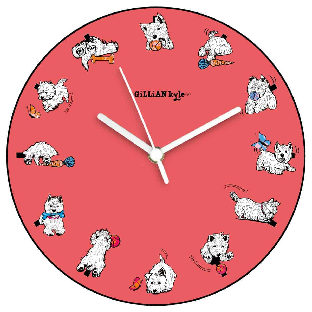 Westie World Scottish West Highland Terrier Westy kitchen wall clock by Gillian Kyle