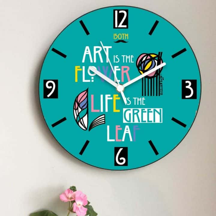 Charles Rennie Mackintosh rose and famous quote font design wall clock celebrating the Scottish artist, designer and architect on his 150th birthday by Gillian Kyle