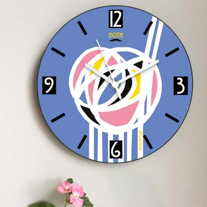 Charles Rennie Mackintosh rose design wall clock celebrating the Scottish artist, designer and architect on his 150th birthday by Gillian Kyle