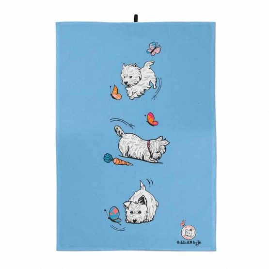 Westie World Scottish West Highland Terrier Westy tea towel by Gillian Kyle