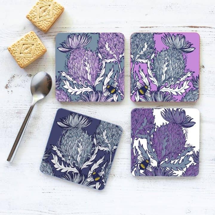 Scottish Thistle Coasters by Scottish artist Gillian Kyle
