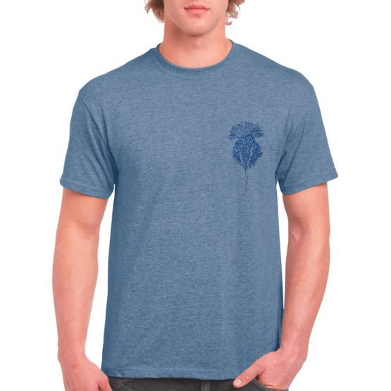 Flower of Scotland Scottish thistle t-shirt for men in blue by Gillian Kyle