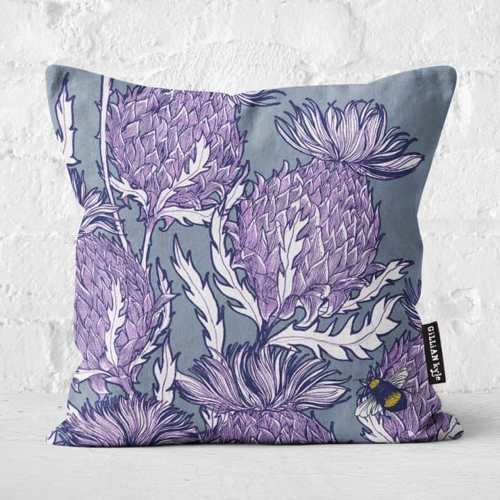 Flower of Scotland Scottish thistle cushion by Scottish artist Gillian Kyle