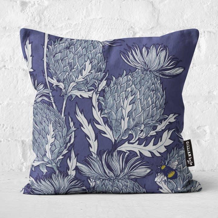 Flower of Scotland Scottish thistle cushion in indigo by Gillian Kyle