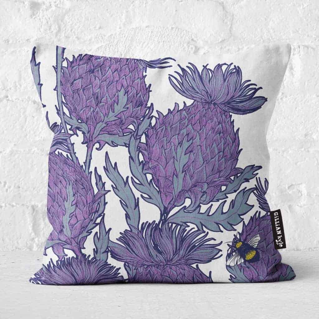 Flower of Scotland Scottish thistle cushion in natural by Gillian Kyle