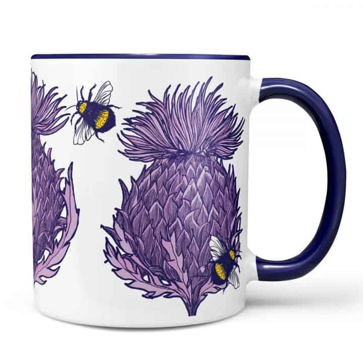 Scottish Thistle Mug in lilac by Scottish artist Gillian Kyle