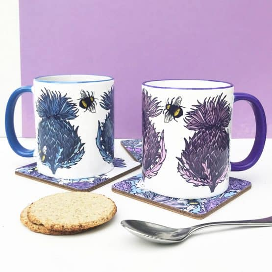 Scottish Thistle Mugs by Scottish artist Gillian Kyle