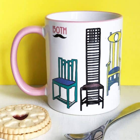 Charles Rennie Mackintosh chair design mug celebrating the Scottish artist, designer and architect on his 150th birthday by Gillian Kyle