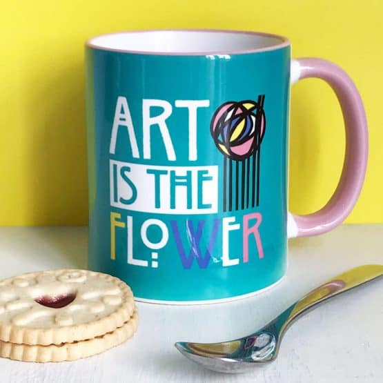 Charles Rennie Mackintosh rose and famous quote font design mug celebrating the Scottish artist, designer and architect on his 150th birthday by Gillian Kyle