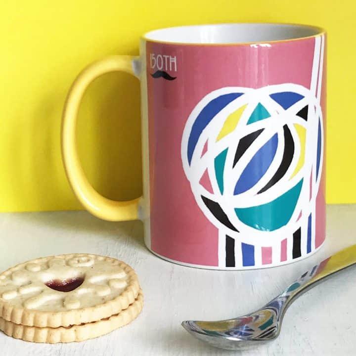Charles Rennie Mackintosh rose design mug celebrating the Scottish artist, designer and architect on his 150th birthday by Gillian Kyle