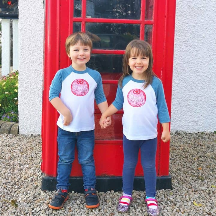 s sottish baseball t-shirt top for kids with Tunnock's Teacake in red by Scottish artist Gillian Kyle