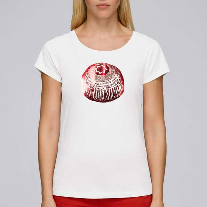 Tunnock's Tea Cake women's foiled t-shirt in white by Gillian Kyle