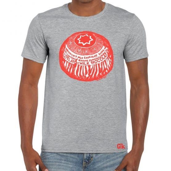 Tunnock's Teacake t-shirt in grey by Scottish artist Gillian Kyle
