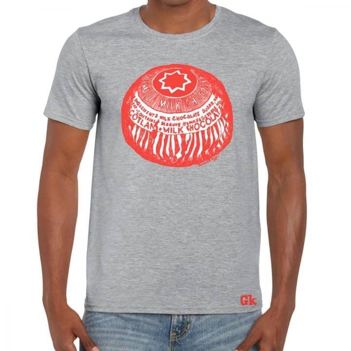 Tunnock's Tea Cake Men's t shirt in grey by Gillian Kyle