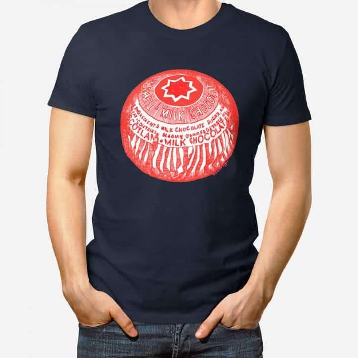 Tunnock's Teacake t-shirt in navy by Scottish artist Gillian Kyle
