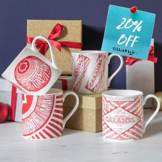 Set of 4 fine bone china Tunnock's mugs by Scottish artist Gillian Kyle