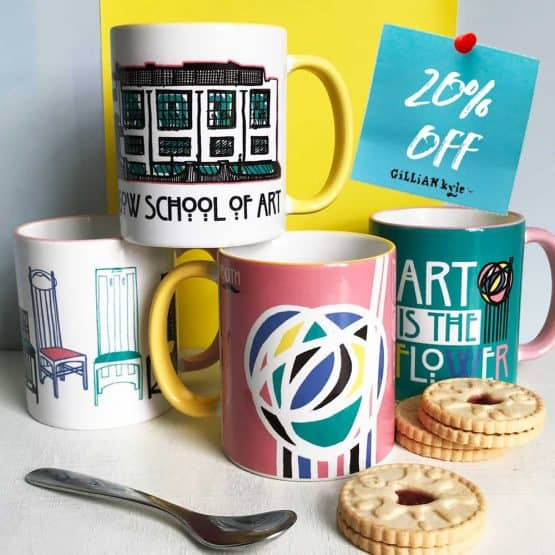 Mug collection celebrating Charles Rennie Mackintosh by Scottish artist Gillian Kyle