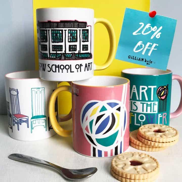 Mug collection celebrating Charles Rennie Mackintosh by Scottish artist Gillian Kyle