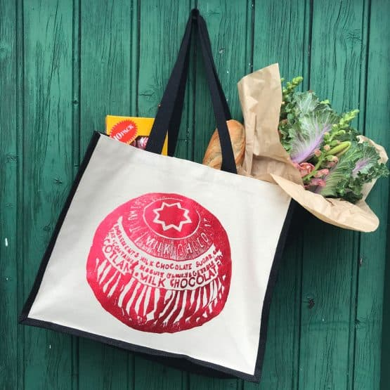 Sturdy jute and canvas shopper tote bag with shiny Tunnock's Teacake print by Scottish artist Gillian Kyle