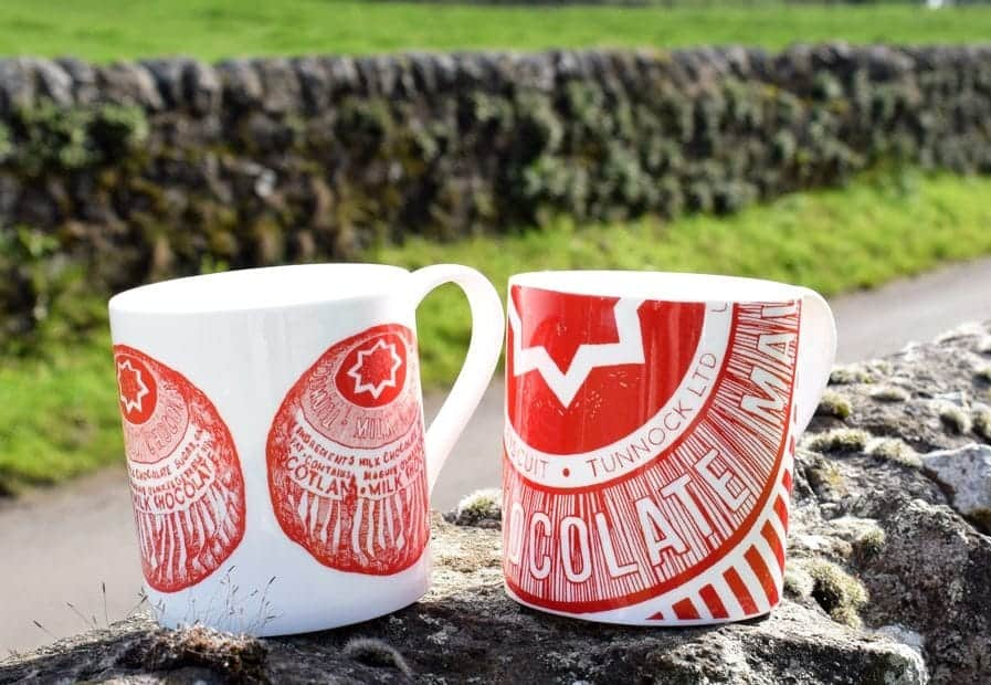 Tunnock's tea cake and caramel wafer mugs by Scottish artist Gillian Kyle
