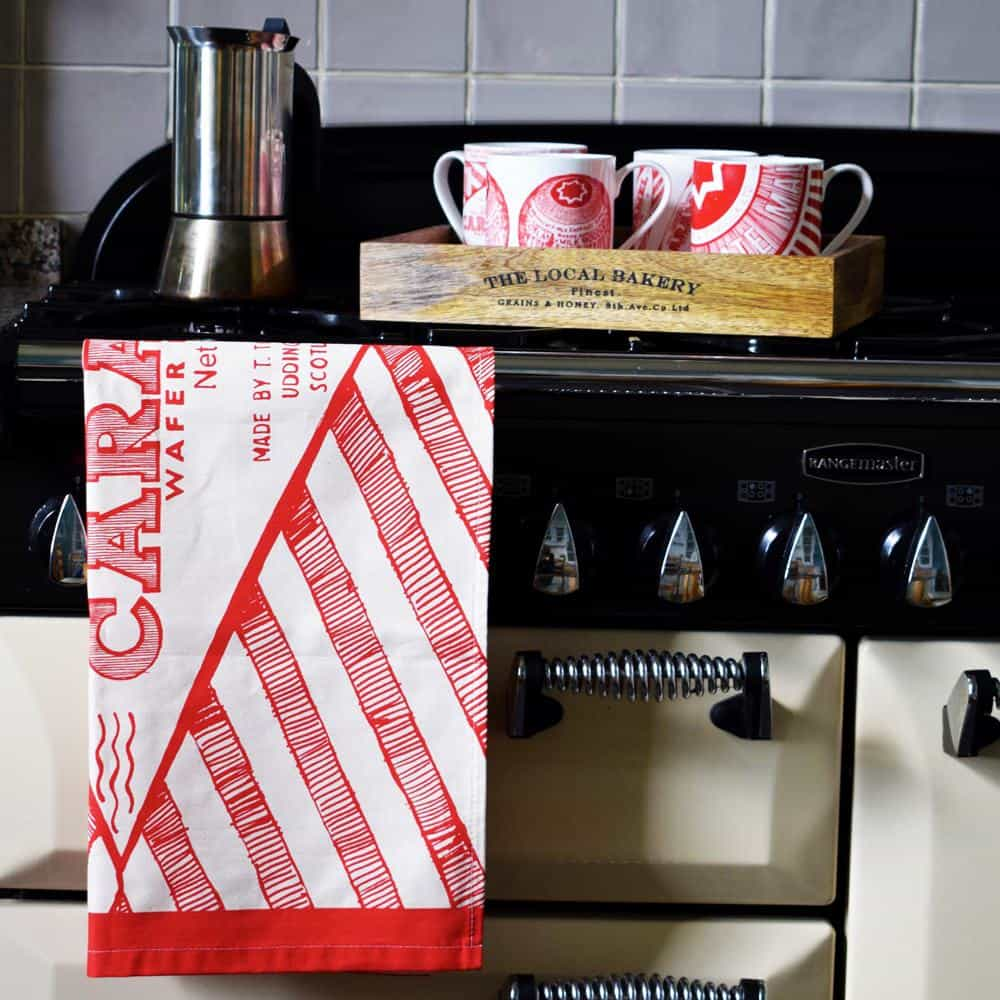 Tunnocks mugs and tea towel by Scottish artist Gillian Kyle