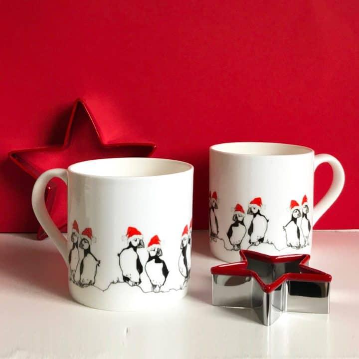 Christmas Puffins China Mug