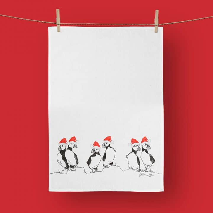Christmas Puffins Tea Towel