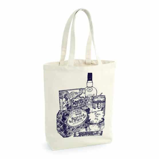 Natural fair-trade cotton canvas heavyweight tote in Scottish Breakfast print by Gillian Kyle