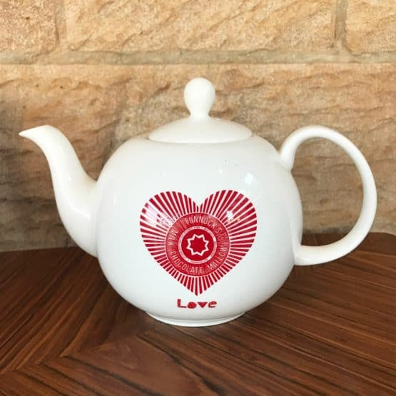 a teacake 'Love Tunnock's' fine bone china teapot by Scottish Artist Gillian Kyle